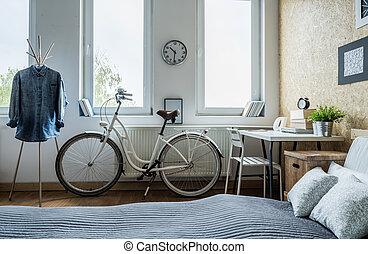 ville, blanc, vélo
