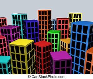 ville, blocs, coloré