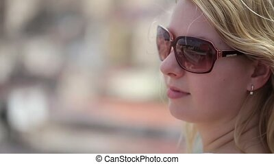 ville, blond, femme, jeune