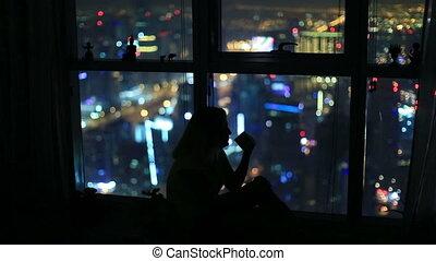 ville, boire, femmes, montre, nuit