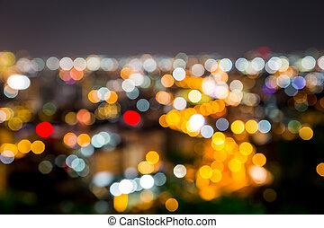 ville, bokeh, nuit, brouillé