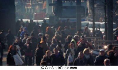 ville, bokeh, profond, foule, gens