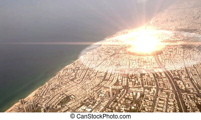 ville, bombe, nucléaire, sur, exploser, atome