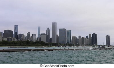ville, brumeux, centre, jour, chicago
