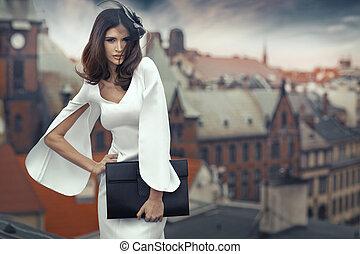 ville, brunette, panorama, fond, dame, intelligent