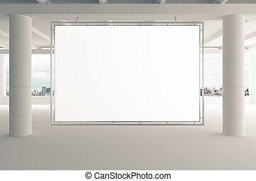 ville, bureau, haut, piliers, panneau affichage, vide, vide, vue, blanc, railler