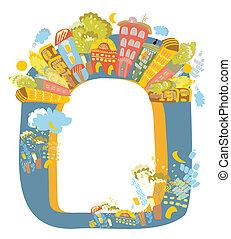 ville, cadre, éléments, architecture, original