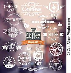 ville, café, concept, vieux timbre, logo.