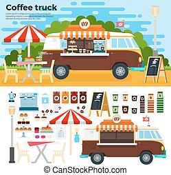ville, café, rue, camion