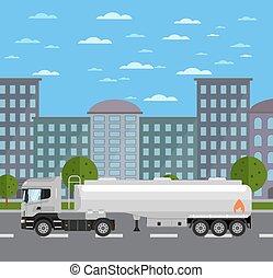 ville, camion réservoir, route
