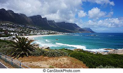 ville, cap, afrique sud, baie, camps