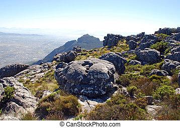 ville, cap, afrique sud, présentez montagne