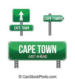 ville, cap, route ville, signe