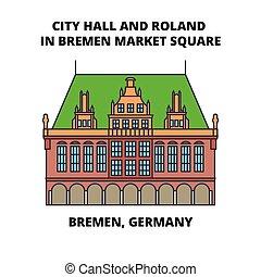 ville, carrée, illustration., plat, signe, bremen, bremen, symbole, vecteur, roland, marché, allemagne, ligne, concept., salle, icône