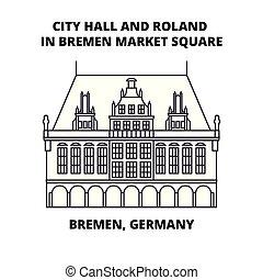 ville, carrée, illustration., signe, bremen, bremen, symbole, vecteur, roland, marché, allemagne, ligne, icône, concept., salle, linéaire