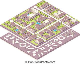 ville, carte, isométrique, k, création, petit