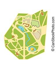 ville, carte, navigation, chart., touriste, emplacement, ville, gardens., géographique