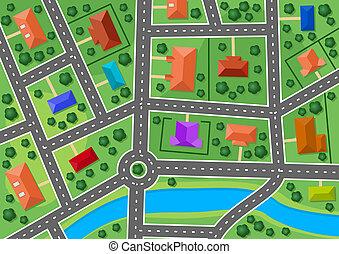 ville, carte, peu, banlieue, village, ou