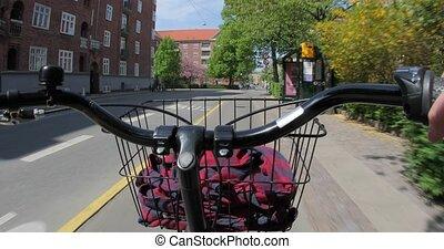 ville, cavalcade, pov, vélo
