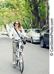 ville, cavalcade, vélo