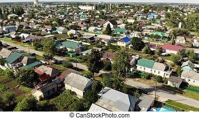 ville, central, obliquement, sommet, petit, en mouvement, russia., vue