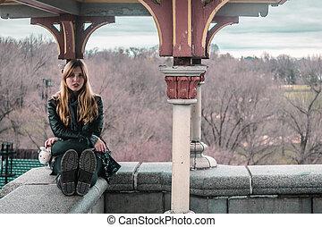 ville, central, séance, parc, belvedere, bord, york, nouveau, girl, château, manhattan