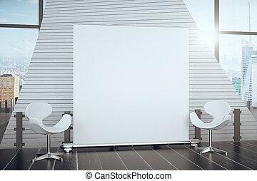 ville, chaises, affiche, moderne, haut, salle, vide, fenêtre, grand, vue, blanc, entre, railler