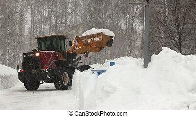 ville, chasse neige, lot, enlève, neige
