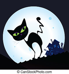 ville, chat noir, silhouette, nuit