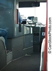 ville, chauffeur, autobus, siège