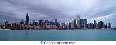 ville, chicago, couleur, michigan, ciel, lac, illinois, horizon, levers de soleil