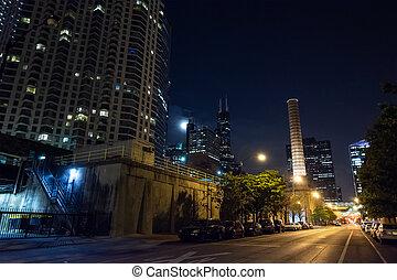 ville, chicago, scène nuit, rue, cheminée, tour