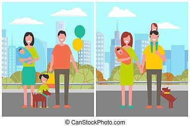 ville, chien, chouchou, enfants, couple, famille