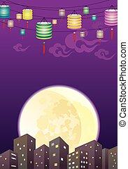 ville, chinois, ni, mi, automne, lanternes