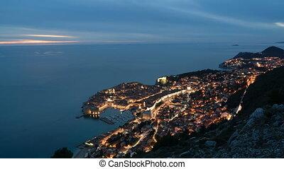 ville, chronocinématographie, vieux, touriste, dubrovnik, célèbre, métrage, méditerranéen, une, la plupart, mer, nuit, jour, destinations
