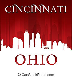 ville, cincinnati, fond, ohio, silhouette, rouges