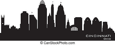 ville, cincinnati, horizon, vecteur, ohio, silhouette