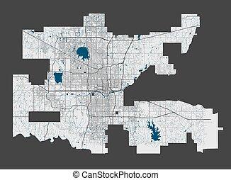 ville, cityscape., oklahoma, détaillé, illustration., ville, gratuite, carte, redevance, vecteur