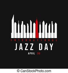 ville, clés, affiche, jazz, horizon, piano, jour