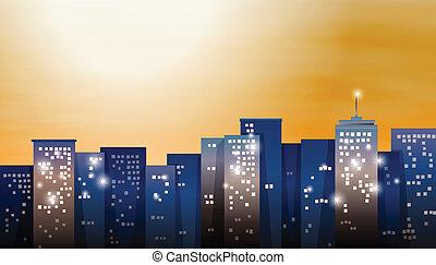 ville, clair, vue