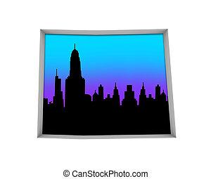 ville, co, colorado, aire métropolitaine, illustration, horizon, vie nocturne, 3d