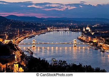 ville, colline, château, budapest, castle., hongrie, vue