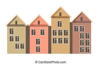 ville, coloré, attics, maisons, murs, rang