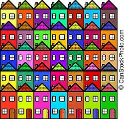 ville, coloré, dessin animé