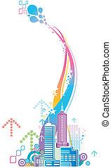 ville, coloré, fond