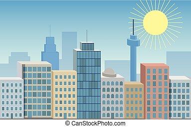 ville, coloré, grand, seamless, illustration, vecteur, sun., 3d, briller