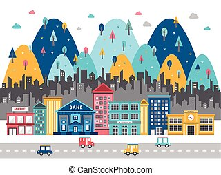 ville, coloré, plat, scène, rue, conception