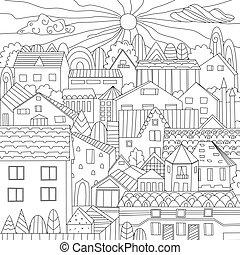 ville, coloration, gentil, livre, ton