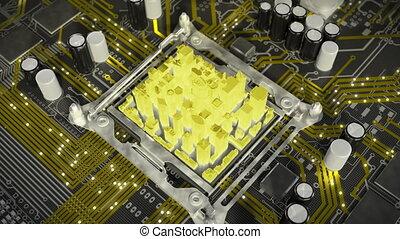 ville, communication, motherboard., above., 4k, future., vue
