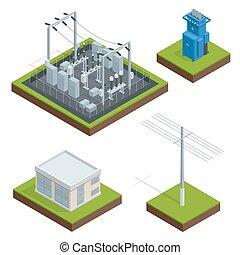 ville, communication, vecteur, électrique, distribution, usine, chain., énergie, isométrique, technologie illustration, électrique, energy.